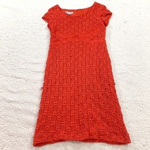 Kay Unger New York red cap sleeve lace dress